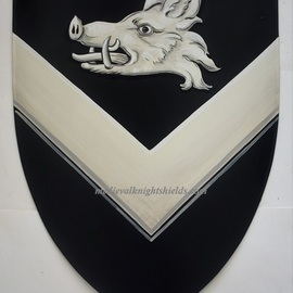 Gerhard Mounet Lipp: 'Coat of arms shield knight shield', 2019 Acrylic Painting, Home. Artist Description: Coat of Arms shield - arms only.  Four point steel knight shield - exclusive hand crafted hand painted medieval knight shield shield comes with chain for hanging.  This 4 point medieval shield measures 19 x 24 inches Each shield is custom hand painted with attention to details to assure a ...