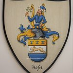 Custom Family Crest Painting Wooden Wall Plaque, Gerhard Mounet Lipp