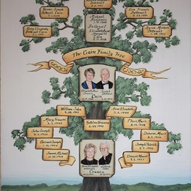Gerhard Mounet Lipp: 'Custom family tree painting', 2019 Oil Painting, Home. Artist Description: Unique family tree, personalized Parents - Grandparents Family Tree with realistic wedding portrait painting, custom hand painted anniversary wedding family tree on canvas.  Family tree painting is hand painted on canvas or watercolor paper, price is for a16 x 20 inch family tree including two double portraits.  When we ...