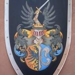 Custom Medieval Knight Shield Family Crest, Gerhard Mounet Lipp