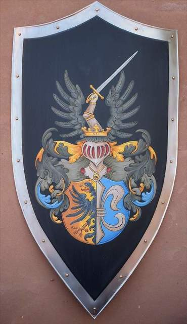 Gerhard Mounet Lipp  'Custom Medieval Knight Shield Family Crest', created in 2017, Original Painting Other.