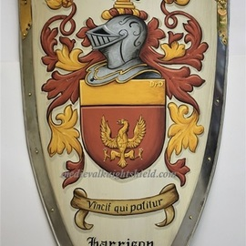 Gerhard Mounet Lipp: 'Custom metal knight shied coat of arms', 2019 Acrylic Painting, Home. Artist Description: Lg.  four point steel knight shield with brass dA(c)cor- exclusive hand crafted hand painted medieval knight shield, steel kite shield with gold leaf painted rivets aEUR