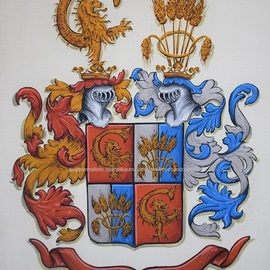 Gerhard Mounet Lipp: 'Custom wedding coat of arms painting', 2019 Acrylic Painting, Home. Artist Description: Wedding Family Crest, alliance coat of armswatercolor paper - Each crest is individually designed, with intricate details, personalized to reflect your family history.  Our featured crest is 16 x 20 inch and painted on watercolor paper.  Every coat of arms and family crest ishand painted, they are not mass ...