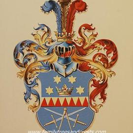 Family Coat Of Arms Painting On Canvas, Gerhard Mounet Lipp