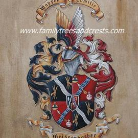 Gerhard Mounet Lipp Artwork Family Crests, Coat of Arms Paintings on Soft Leather , 2013 Acrylic Painting, Home