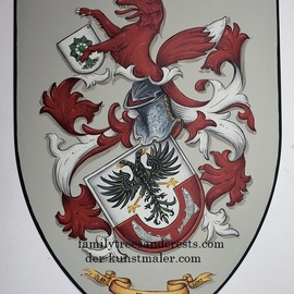 Gerhard Mounet Lipp: 'Family crest metal knight shield', 2018 Other Painting, Home. Artist Description: Medieval knight shield, heater shield aEUR