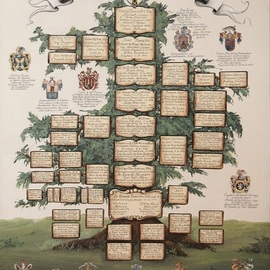 Gerhard Mounet Lipp: 'Family tree painting coat of arms', 2019 Acrylic Painting, Home. Artist Description: Unique family tree with Coat of Arm of family and ancestors, custom hand painted anniversary wedding family tree on canvas.  Family tree painting is hand painted on canvas or watercolor paper.  The price for a standard 36 x 48 inch family tree - price may vary depending how many ...