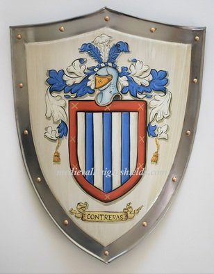 Gerhard Mounet Lipp: 'Metal coat of arms shield knight shield', 2019 Acrylic Painting, Home. Coat of Arms four point steel knight shield - exclusive hand crafted hand painted medieval knight shield with gold leaf painted rivets aEUR