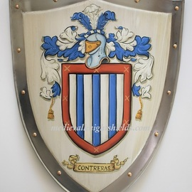Gerhard Mounet Lipp: 'Metal coat of arms shield knight shield', 2019 Acrylic Painting, Home. Artist Description: Coat of Arms four point steel knight shield - exclusive hand crafted hand painted medieval knight shield with gold leaf painted rivets aEUR