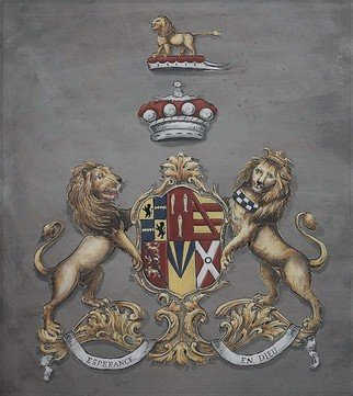 Gerhard Mounet Lipp: 'coat of arns painting heraldry', 2018 Acrylic Painting, Home. Artist Description: Coat of Arms painting with shield supporters.  Each family crest is individually designed, with intricate details, personalized to reflect your family history. Our featured crest is 20 x 24 inches in size and painted on soft leatherLarger or smaller sizes on request. Every coat of arms and ...