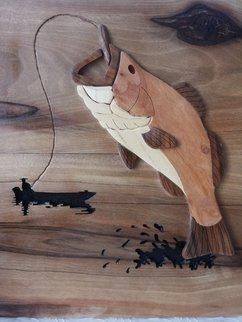 Farzin Vahid: 'fisherman', 2016 Woodworking Art, Fish.