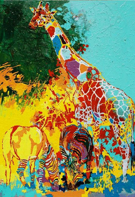 Fatmir Gjevukaj  'Two Zebras And A Giraffe', created in 2003, Original Painting Oil.