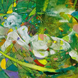 Fatmir Gjevukaj: 'Untitled', 2003 Oil Painting, Nudes.