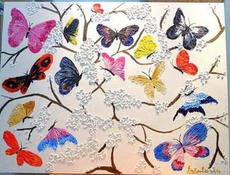 Fatula Waluyo Artwork Colorful butterflies and cherry blossom, 2013 Oil Painting, Abstract