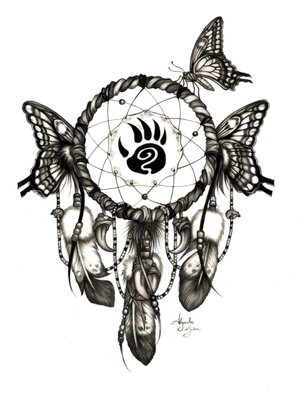 Alejandro Jake: 'Butterfly Dream Catcher ', 2016 Digital Print, Animals.  Butterfly Dream Catcher with Bear Spirit     ...