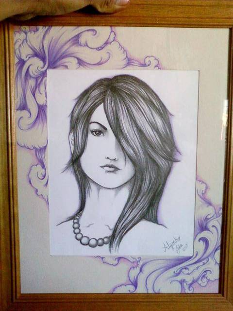 Alejandro Jake  'Pencil Drawnig Of A Woman', created in 2011, Original Tatoo Art.
