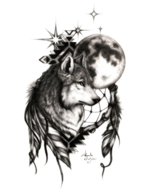 Dream catcher wolf drawing