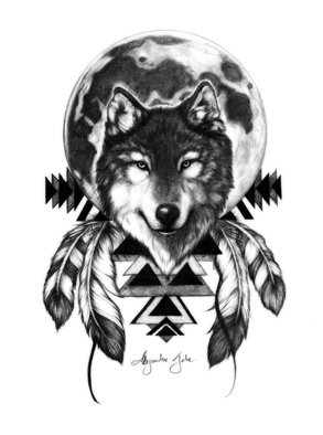 Alejandro Jake: 'Wolf with Full Moon', 2016 Digital Print, Animals.  Wolf with Full Moon ...
