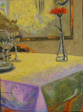 Felipe San Pedro: 'lonely flower', 2014 Oil Painting, Atmosphere. Artist Description:  on a restaurant,  a table with  flower             ...