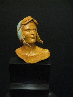 Felix Velez: 'amelia earhart', 2017 Bronze Sculpture, Aviation. This is a small bronze bust sculpture of the historical famous Amelia Earhart. Attempt to make a circumnavigational flight in 1937- disappear. Is a nice figurative bronze representation of her. A pioneering aviator and inspiration to every women. This sculpture come with certificate of authenticity, REDY TO BE SHIP. . . ...