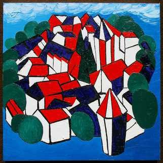 Artist: Frank Emmert - Title: The French Village Fernand Leger Decorated for the 14th of July - Medium: Oil Painting - Year: 2013