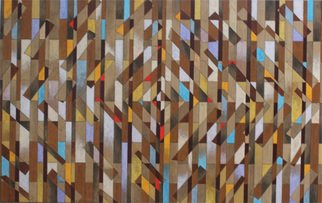 Geometric Acrylic Painting by Luiz Carlos Ferracioli titled: Construction 206, created in 2014