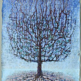 Stephen Fessler: 'Fractal Tree', 2012 Acrylic Painting, Trees. Artist Description:      The one tree seen as a transfer of energy; lightning becoming branches gathering at the trunk leading to the roots becoming tributaries joining rivers to feed the surrounding sea. ...