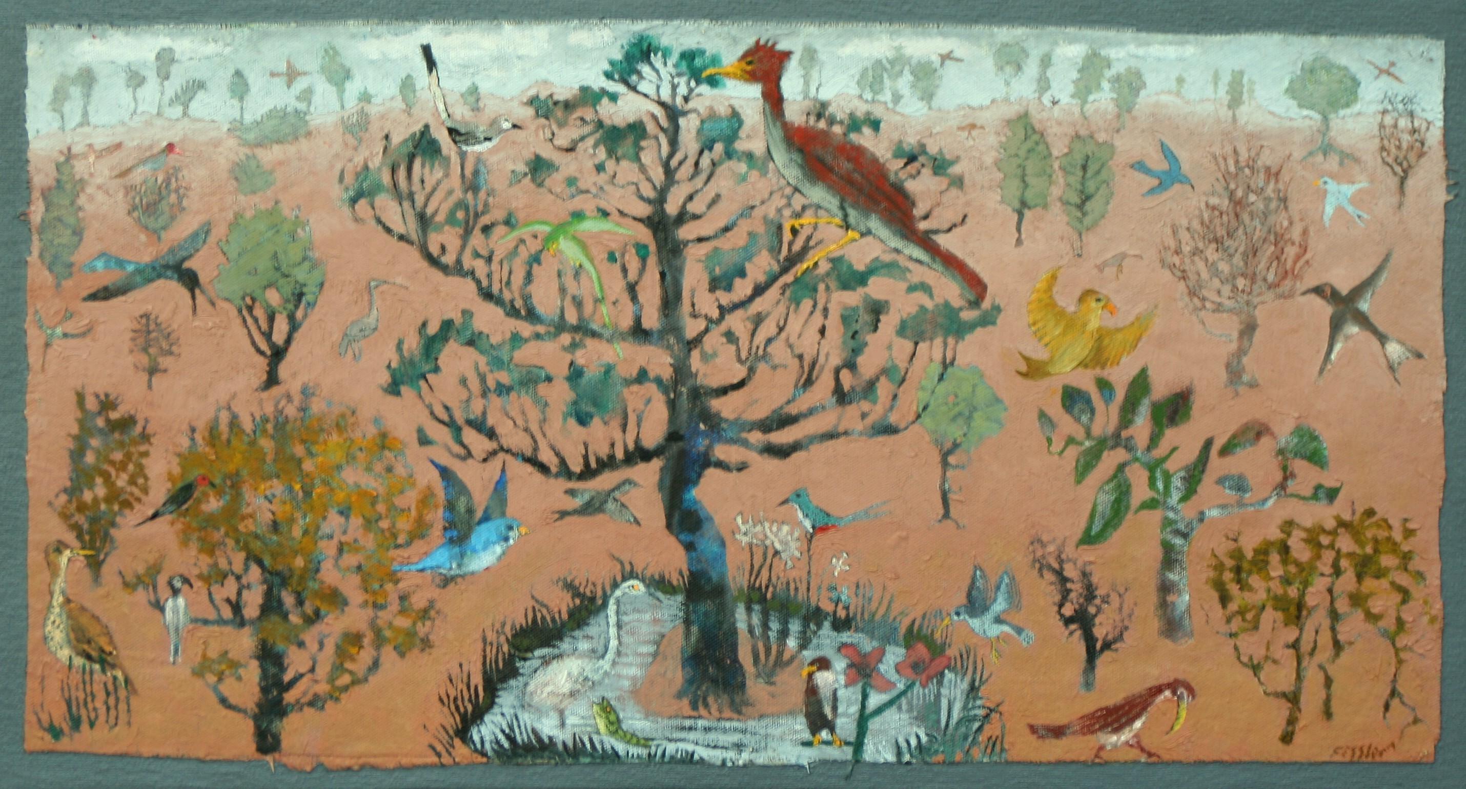 Stephen Fessler Artwork: Garden Of Birds | Original Painting Oil ...