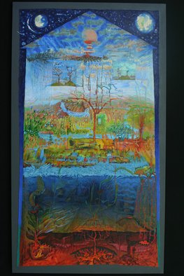 Stephen Fessler: 'Our House', 2011 Oil Painting, Mythology.     A brightly- colored acrylic and oil painting, a landscape seen as an architectural drawing, the universe as a house.  ...