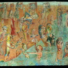 Stephen Fessler: 'The Immersion', 2010 Oil Painting, Figurative. Artist Description:         All enter the water, to sink or swim, all together.  This painting uses many collage elements such as string, canvas scraps, and textures using sand.       ...