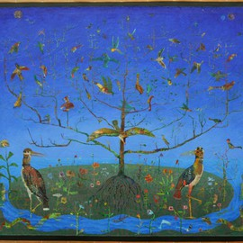 Stephen Fessler Artwork The Tree, Blooming Birds, 2012 Acrylic Painting, Landscape