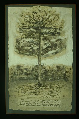 Trees Acrylic Painting by Stephen Fessler Title: The Tree, The Ground, The Writings, created in 2011