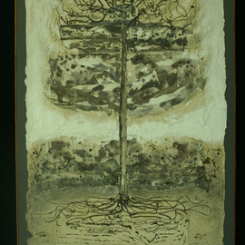 Stephen Fessler: 'The Tree, The Ground, The Writings', 2011 Acrylic Painting, Trees. Artist Description:         The tree with its roots in story, the writings being the ground in which the tree grows.  ...