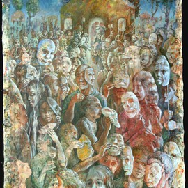 Stephen Fessler: 'The Unmasking', 2010 Acrylic Painting, Figurative. Artist Description:        The masks are removed when the festival ends, and the partiers'true faces are revealed.  Time to go home.       ...