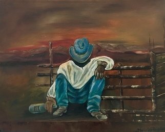 Maria Karlosak: 'cowboy life', 2018 Oil Painting, Expressionism. Artist Description: Original oil painting by Maria Karlosak on 16  x20  x 1. 5  professional canvas. Cowboy life is a hard work, but a cowboys lowe et. End of the day is a time for relax and have a drink...