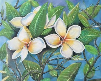Maria Karlosak: 'plumeria tree blossom', 2019 Acrylic Painting, Botanical. Artist Description: This original handmade acrylic painting is on 16  x 20  gallery wrapped canvas. Plumerias are in tropical areas Pacific island, Carabien and SoultAmerika. Plumeria blossom have a different colors and the r have a amazing sweet smell...