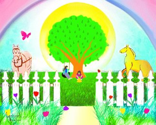 Festina Dileo Guzzo Amaturo: 'In The Sun Fun', 2006 Digital Art, Interior.  Digital Painting. A design for a young girls room mural.   ...