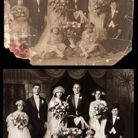 Festina Dileo Guzzo Amaturo: 'Vintage Photo Restoration 1', 2009 Black and White Photograph, Family.