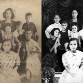 Festina Dileo Guzzo Amaturo: 'Vintage Photo Restoration 2', 2009 Black and White Photograph, Family.