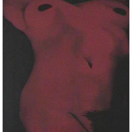 John Fields: 'Female Torso', 2003 Oil Painting, Nudes. Artist Description: Nude Female Torso. Scarlet with black background and shading. Classical Composition....