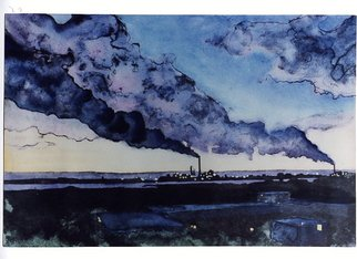 Bob Filbey: 'Smokestacks', 1989 Lithograph, Landscape.  Also available as a black and white lithograph ( $175) . ...