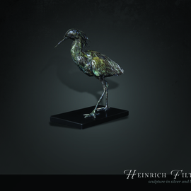 Heinrich Filter: 'Black Egret bronze sculpture', 2015 Bronze Sculpture, Birds. Artist Description:  Black Egret in bronze on stone base, limited edition of 9, width 30 cm x height 34 cm inclusive of base. ...