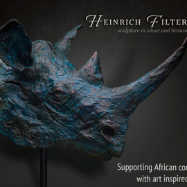 Heinrich Filter Artwork Black Rhino bust in bronze, 2015 Bronze Sculpture, Wildlife