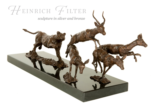 Heinrich Filter  'Hot Pursuit, Lioness In Pursuit Of Antelopes', created in 2013, Original Sculpture Other.