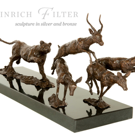 Heinrich Filter: 'Hot pursuit, lioness in pursuit of antelopes', 2013 Bronze Sculpture, Wildlife. Artist Description:  Lioness in hot pursuit of antelopes in bronze on stone base; length 60 cm x height 21 cm x width 20 cm inclusive of base. ...