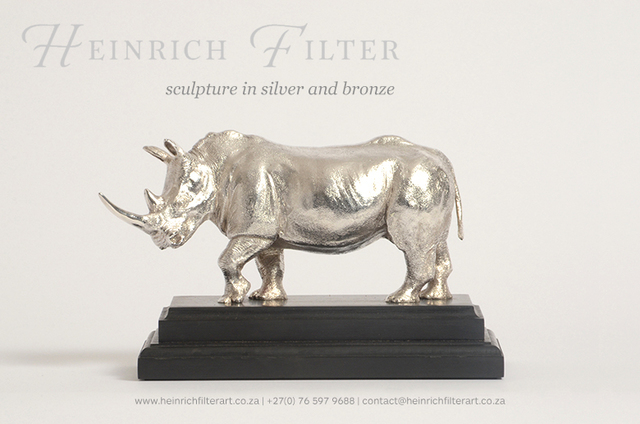 Heinrich Filter  'Whit Rhino Silver Sculpture', created in 2013, Original Sculpture Other.