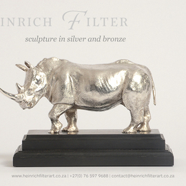 Heinrich Filter: 'Whit Rhino silver sculpture', 2013 Other Sculpture, Wildlife. Artist Description:  White Rhino sculpture in Sterling silver on ebony base; length 18 cm x height 13 cm inclusive of base; approx. silver weight 1100 grams; also available in bronze ...