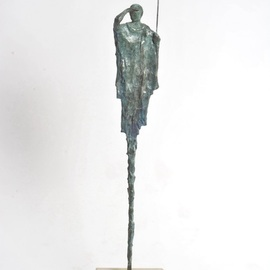 Heinrich Filter: 'beginning of the hunt', 2019 Bronze Sculpture, Figurative. Artist Description:   Beginning of the Hunt   - Masai Warrior in Bronze Verdigris on stone base, Limited edition of 24, Height 85 cm x width 17 cm including base...