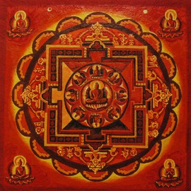Dennis Dick: 'Mandala', 2016 Acrylic Painting, Buddhism. Artist Description:  Cosmic Mandala ...