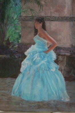 Frederick Kocen Jr: 'VICAIZA', 2009 Pastel, Figurative. Artist Description:    Young woman with blue dress on the grounds of Vicaiza, Florida   ...